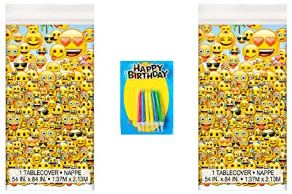 Emoji Party Pack 2CT Tablecover Happy Birthday Candles