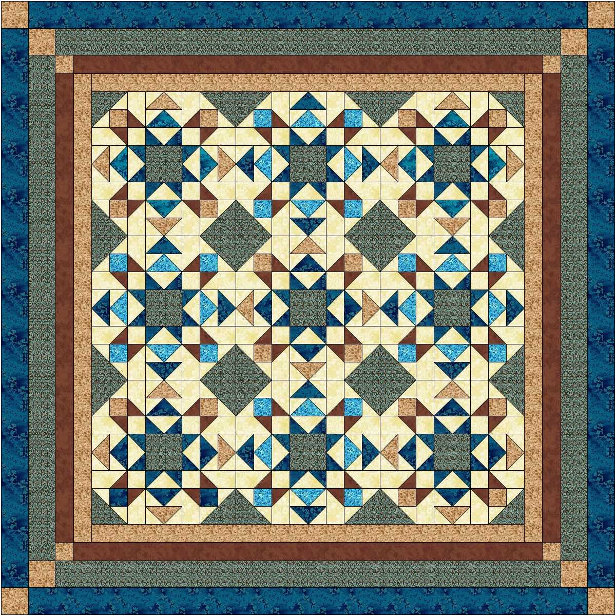 Easy Quilt Kit Reach for the Stars, Blue and Brown Galaxy/RJR