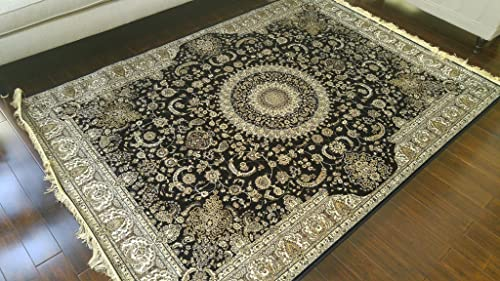 Silk Black Ivory Grey Brown New Traditional Isphan Area Rugs Ultra Low Pile 5 2×7 6 160x230cm