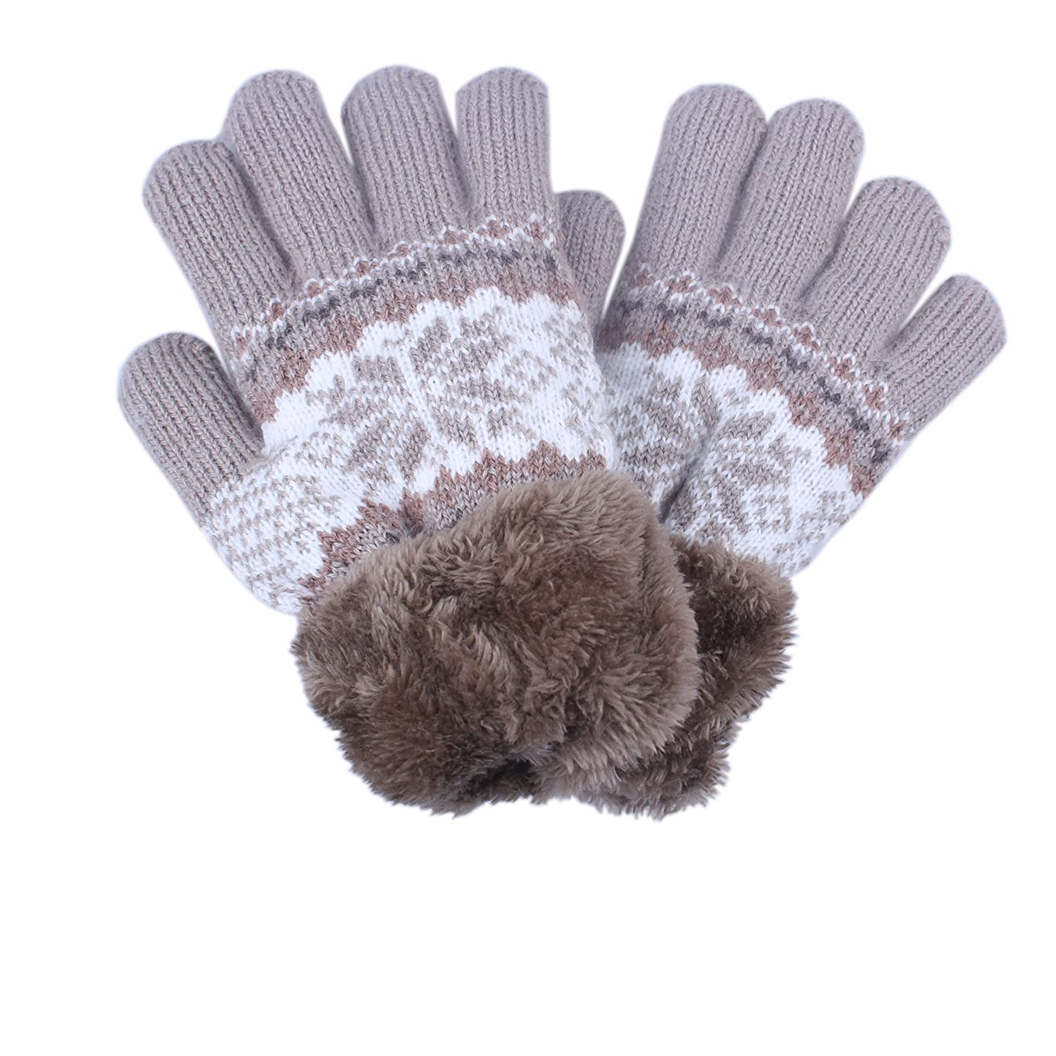 2Pairs Youth Boy Girls Women Winter gloves with Thicken Sherpa Lined kimmyku KM915-14