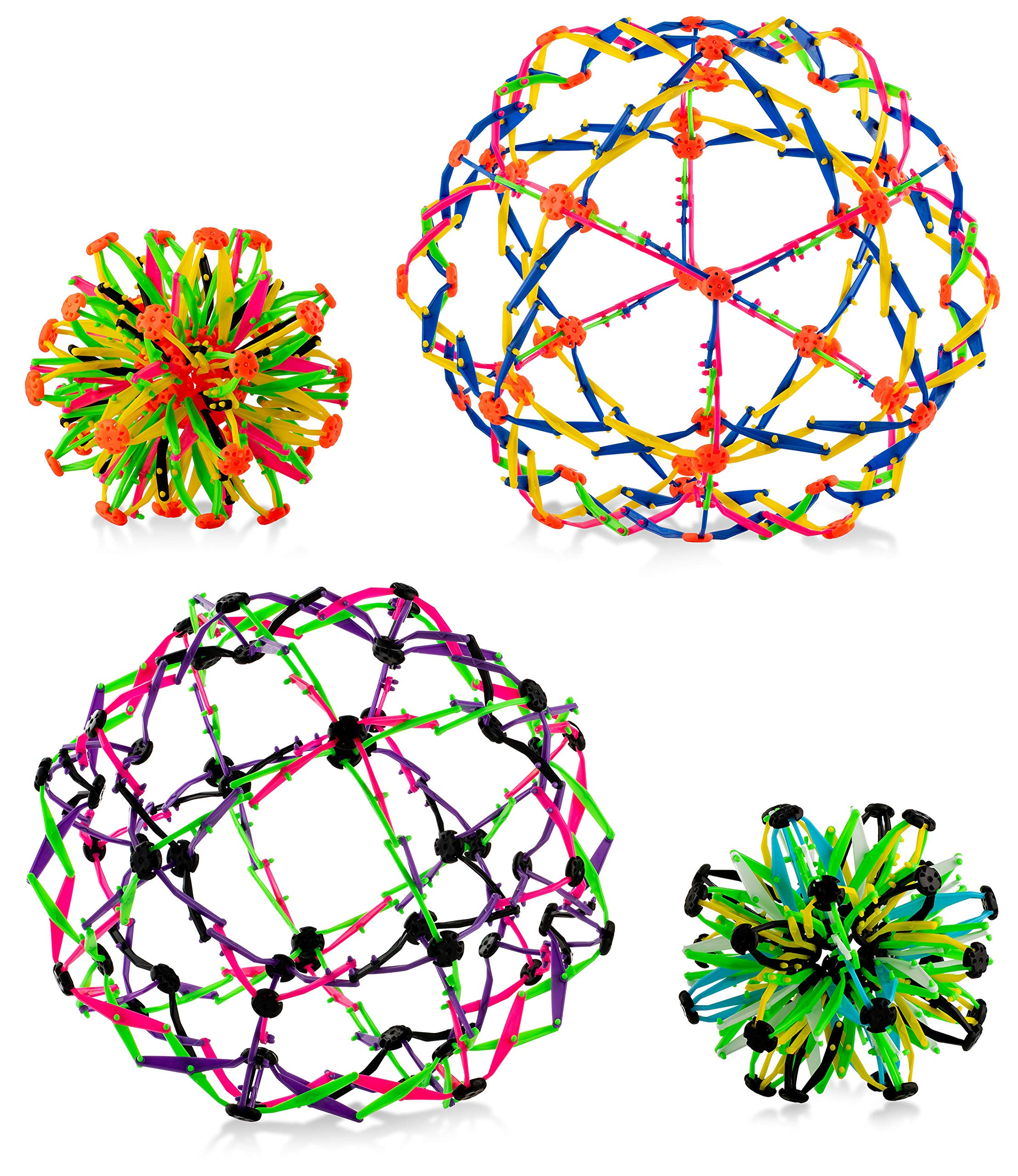 4E's Novelty Pack of 4 Expandable Balls, Hand Catch Expanding Breathing Sphere Flower Ball for Kids Boys and Girls, Great Stress Relief and Anxiety Toy, Helpful Gift for ADHD Sensory Issues