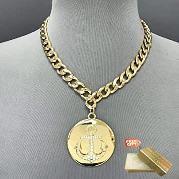 Amazon Com Unique Gold Cuban Link Chain Circle Rhinestone Anchor Design Pendant Necklace Set For Women Gold Cotton Filled Gift Box For Free Beauty