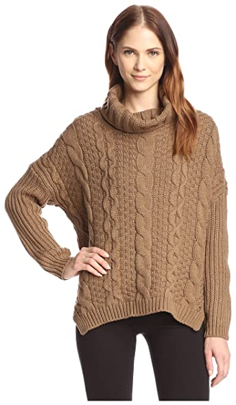 Allison Collection Women's Cable Knit Cowl Neck Sweater at Amazon ...