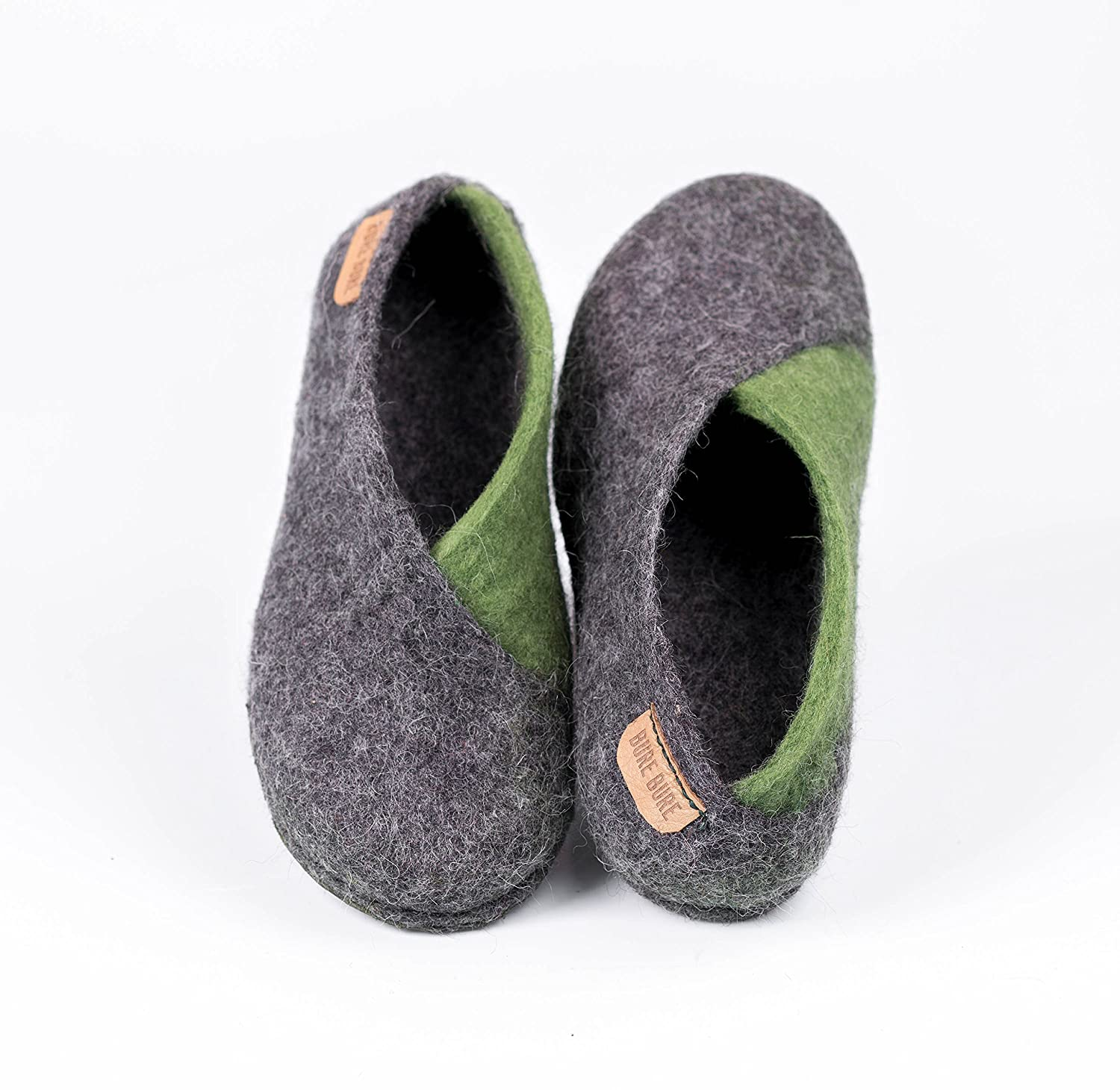 Gray and Olive green ENVELOPE slippers for women, Warm handmade felted wool shoes