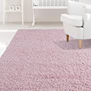 iCustomRug Affordable Shaggy Rug Dixie Cozy & Soft Kids Shag Area Rug Solid Color Pink, for Children's Play Area, Bedroom or Nursery Carpet 6 Feet x 9 Feet (6' x 9')