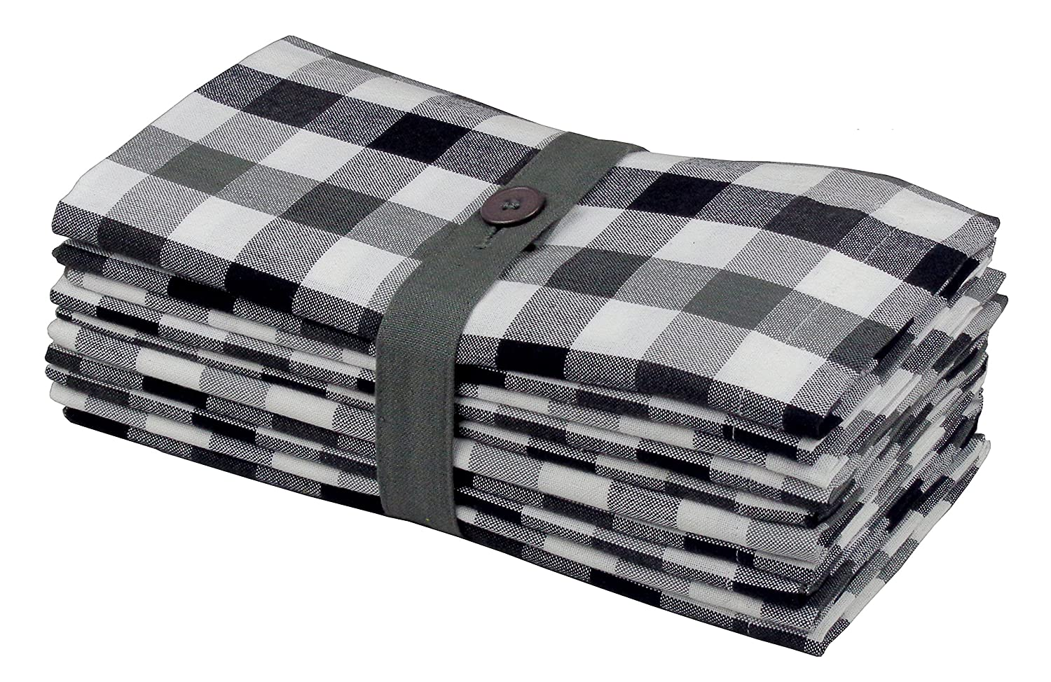 """Cotton Craft 12 Pack Gingham Checks Oversized Dinner Napkins - Black Grey - Size 20""""x20"""" - 100% Cotton - Tailored with Mitered Corners and a Generous Hem - Easy Care Machine wash"""