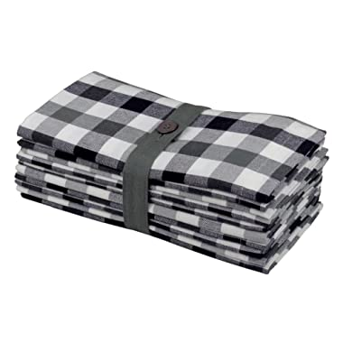 Cotton Craft 12 Pack Gingham Checks Oversized Dinner Napkins - Black Grey - Size 20 x20  - 100% Cotton - Tailored with Mitered Corners and a Generous Hem - Easy Care Machine wash