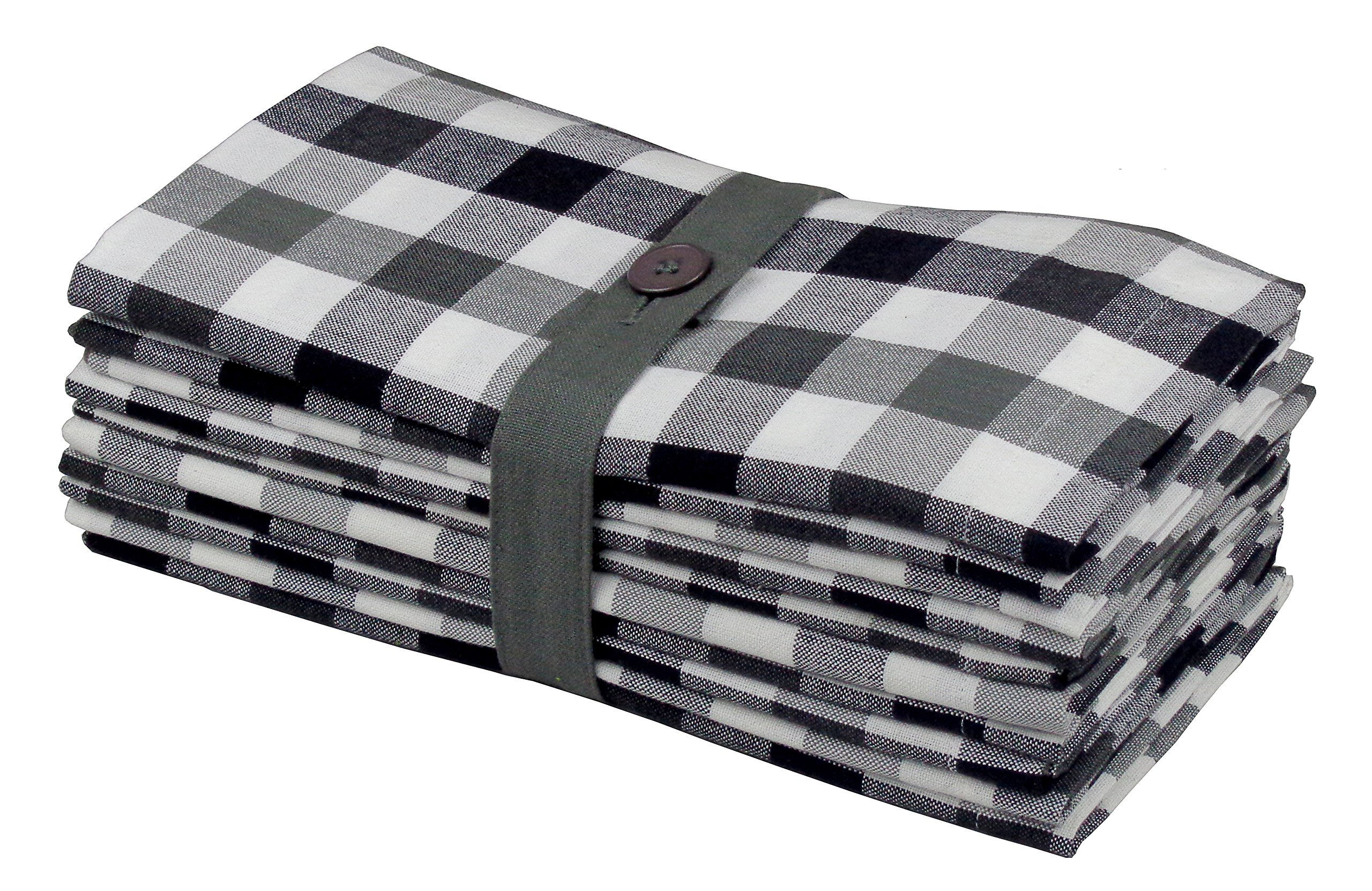 Cotton Craft 12 Pack Gingham Checks Oversized Dinner Napkins - Black Grey - Size 20x20-100% Cotton - Tailored with Mitered Corners and a Generous Hem - Easy Care Machine wash