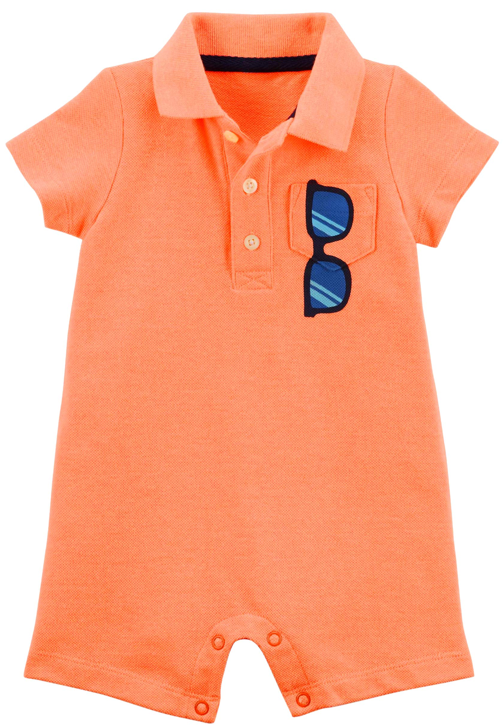 Carter's Baby Boys Polo Romper Sunglasses on Pocket (3M)