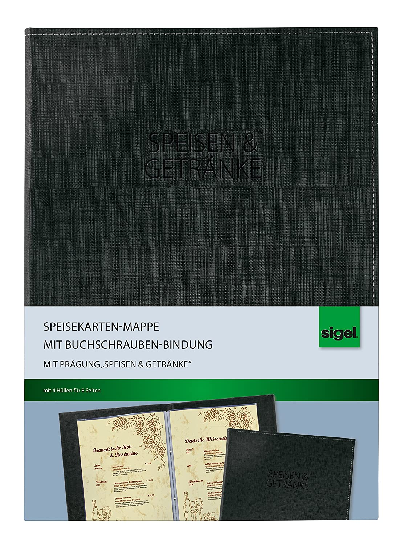 Sigel SM131/5 Speisekarten-Mappen mit Buchschrauben-Bindung für A4, 5-er Pack, schwarz Sigel GmbH