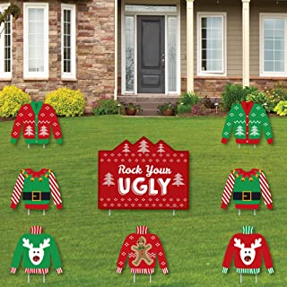 product image for Big Dot of Happiness Ugly Sweater - Yard Sign and Outdoor Lawn Decorations - Holiday and Christmas Yard Signs - Set of 8