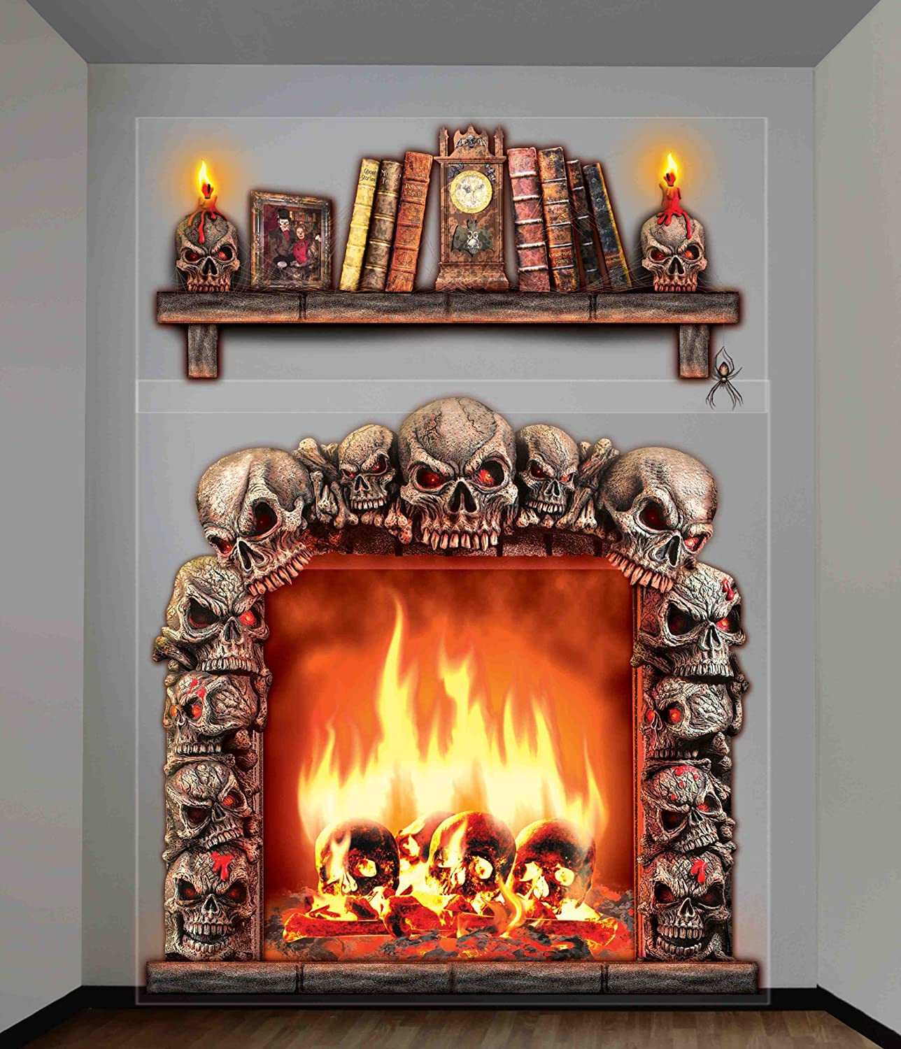 Indoor outdoor fireplace wall decoration awesome skulls for Indoor fire decoration