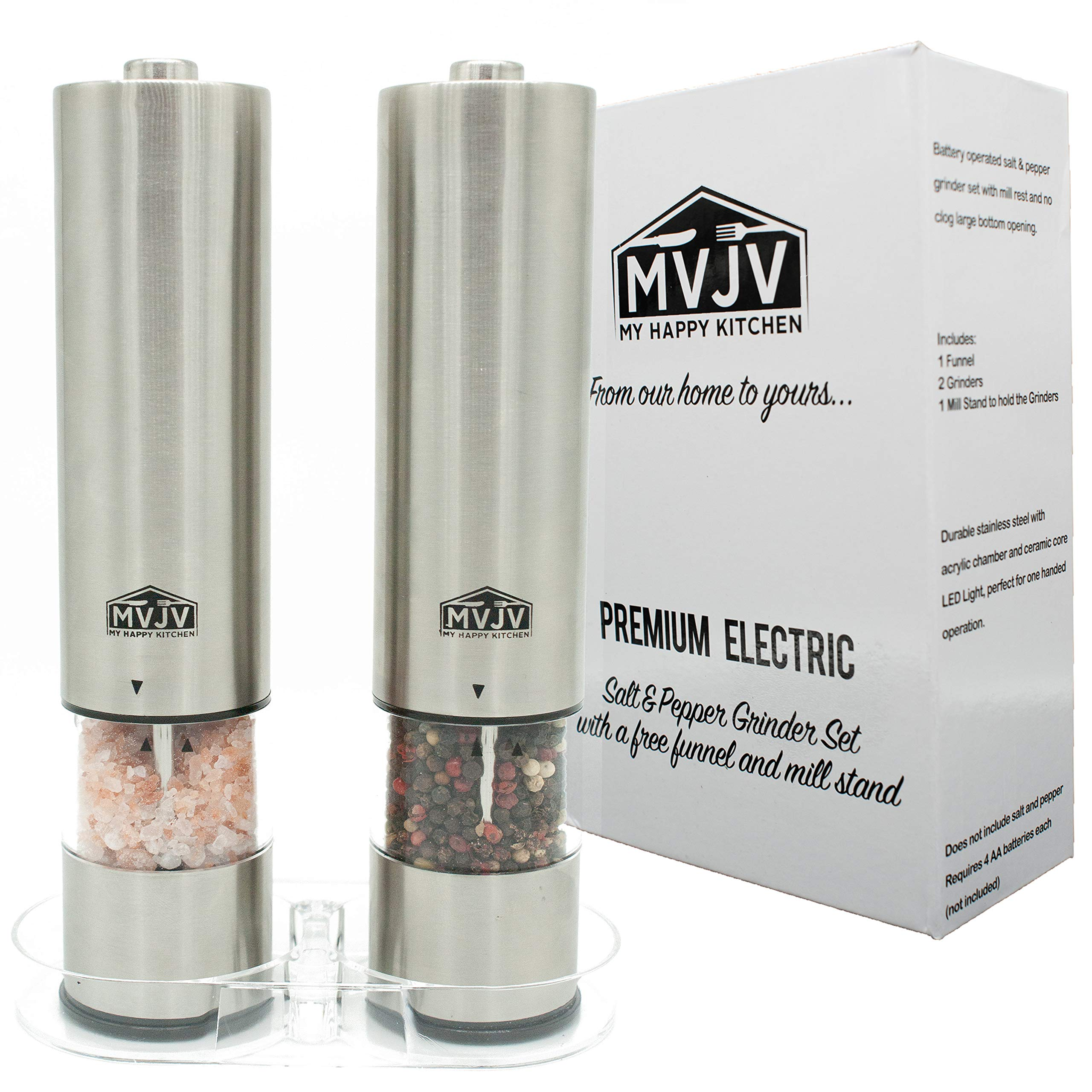Electric Battery Operated Salt and Pepper Grinder Mill Set - Automatic Stainless Steel Tray Stand Funnel for Home Kitchen | 2 Pack Mill Shakers | Sea Salt n Pepper | LED Light | Adjustable Coarseness by My Happy Kitchen by MVJV