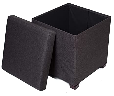 Sensational Birdrock Home Folding Storage Ottoman With Legs Upholstered 16 X 16 Linen Strong And Sturdy Quick And Easy Assembly Foot Stool Black Creativecarmelina Interior Chair Design Creativecarmelinacom
