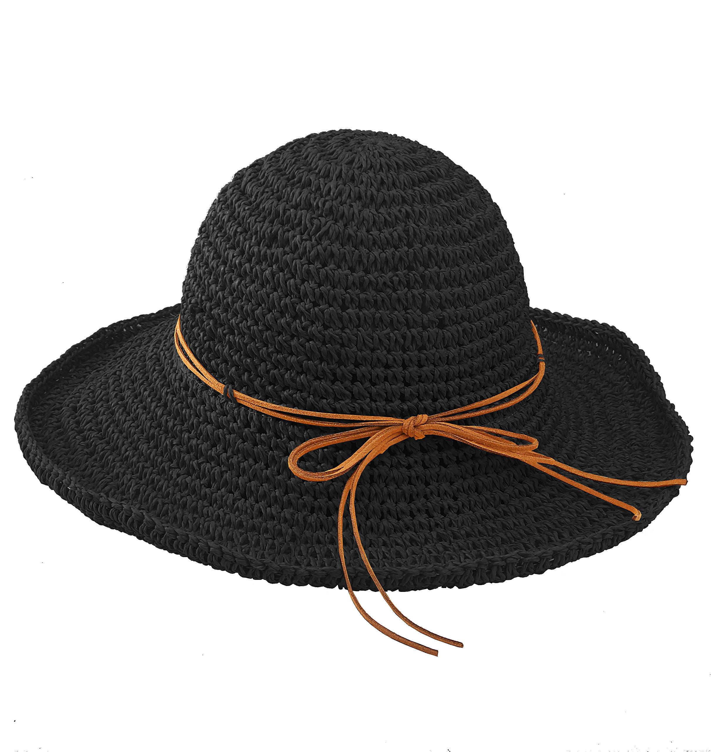 EXCHIC Women Sun Beach Straw Hat Wide Brim Foldable Summer Travel Cap (Black)