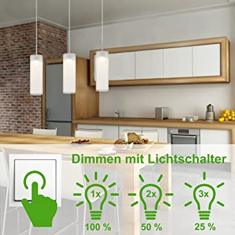 Briloner Leuchten LED Hänge  U0026 Pendelleuchte, Deckenleuchte Mit Dimmer  3 Flammig, Esstisch