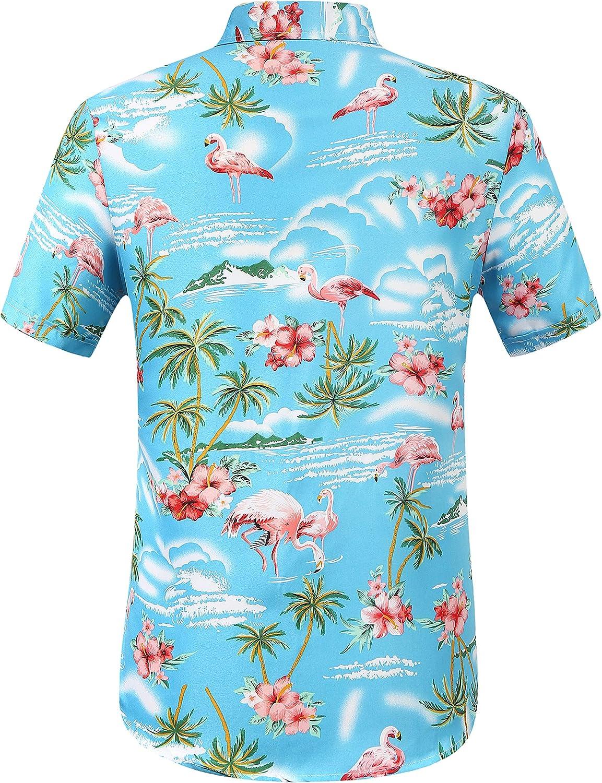 SSLR Camisa Manga Corta con Estampado de Flamencos y Flores Estilo Hawaiana de Hombre: Amazon.es: Ropa y accesorios