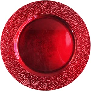 """ChargeIt by Jay Round Charger Large 13"""" Decorative Melamine Service Plate for Home & Professional Fine Dining-For Upscale Catering Events, Dinner Parties, & Weddings, Red"""