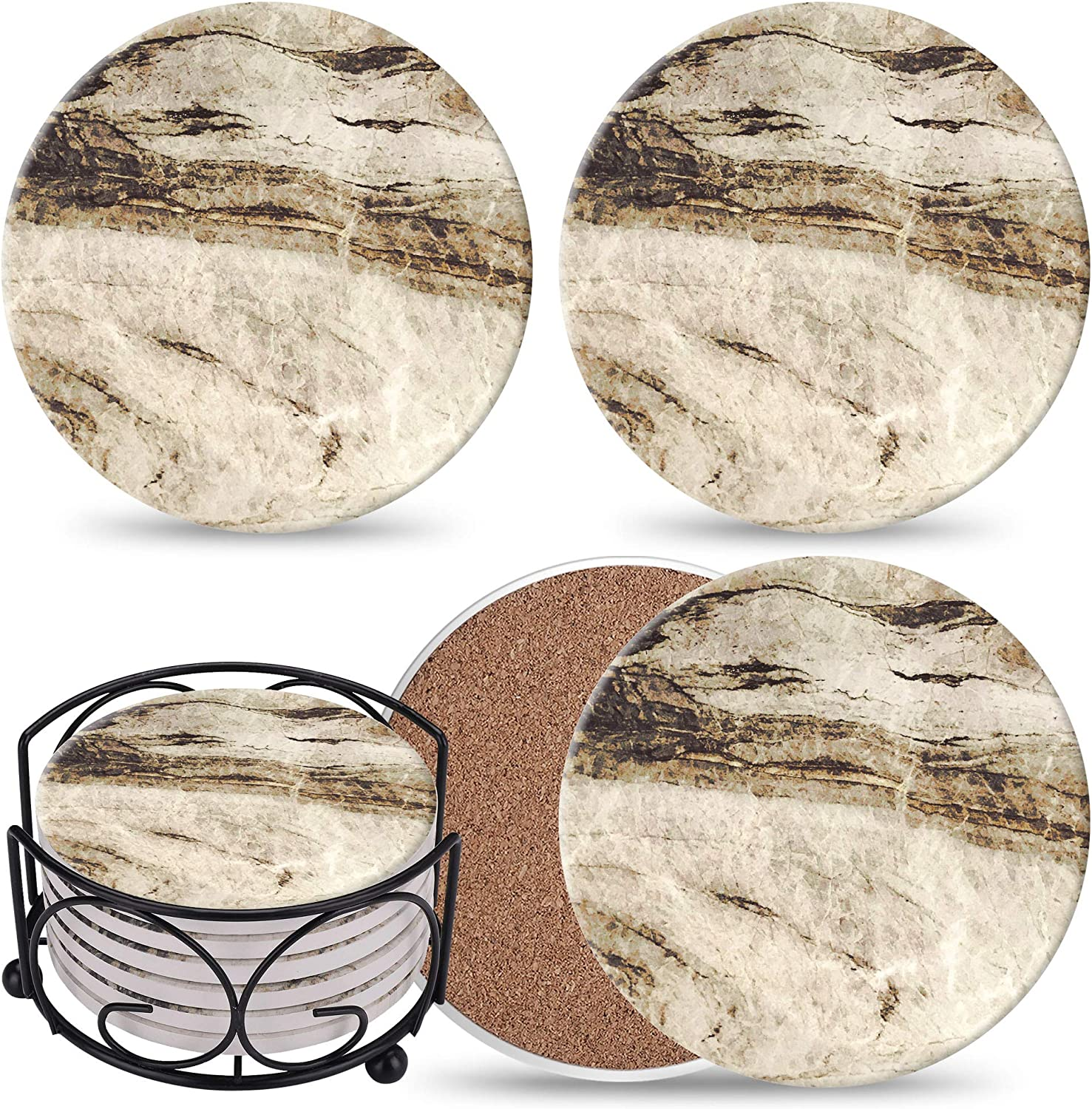 Coasters for Drinks Absorbent with Holder - 6 Pcs Marble Coaster Gift Set - Brown Ceramic Stone Absorbent Coasters with Corked Back - Present for Housewarming Decor