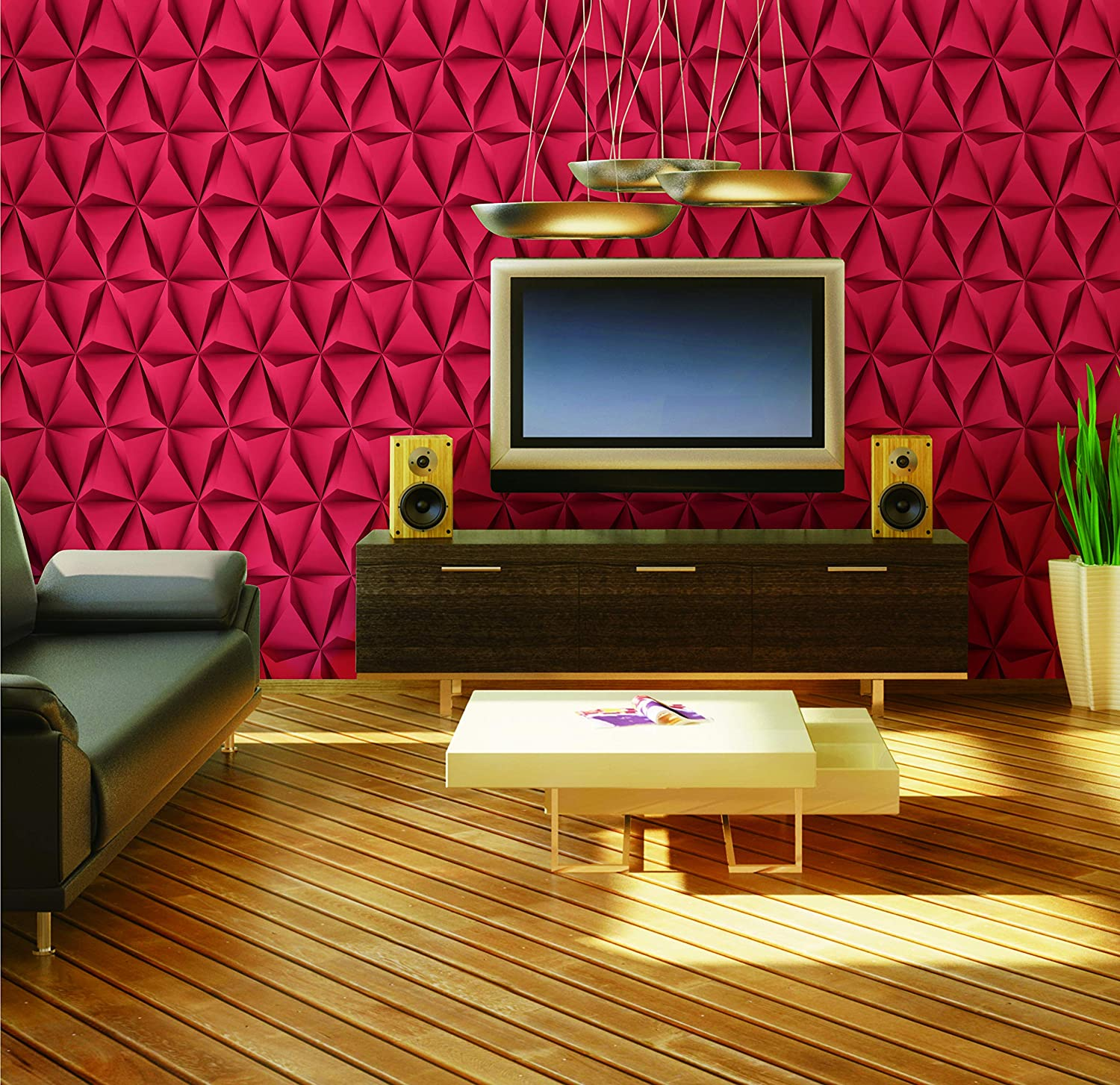 on sale cbac9 e416d Buy Eurotex 3D Red Prism Designer PVC Wallpaper for Bedroom   Living Room,  1 roll 57 sq ft (53 x 1000cm) Online at Low Prices in India - Amazon.in
