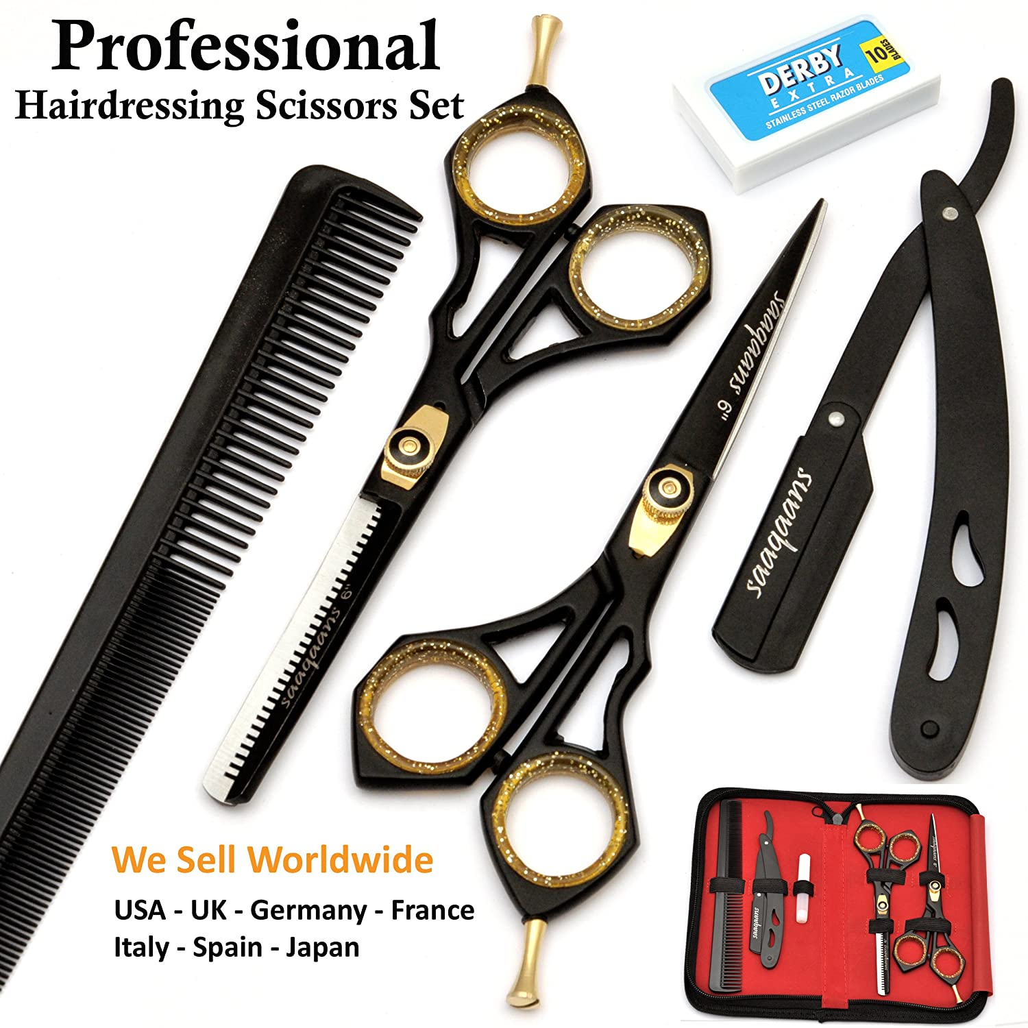 Saaqaans SQKIT Professional Hairdresser Scissors Set - Package includes Barber Scissor, Thinning Shear, Straight Razor, 10 x Double Edge Blades and Hair Comb in Stylish Black Scissors Case