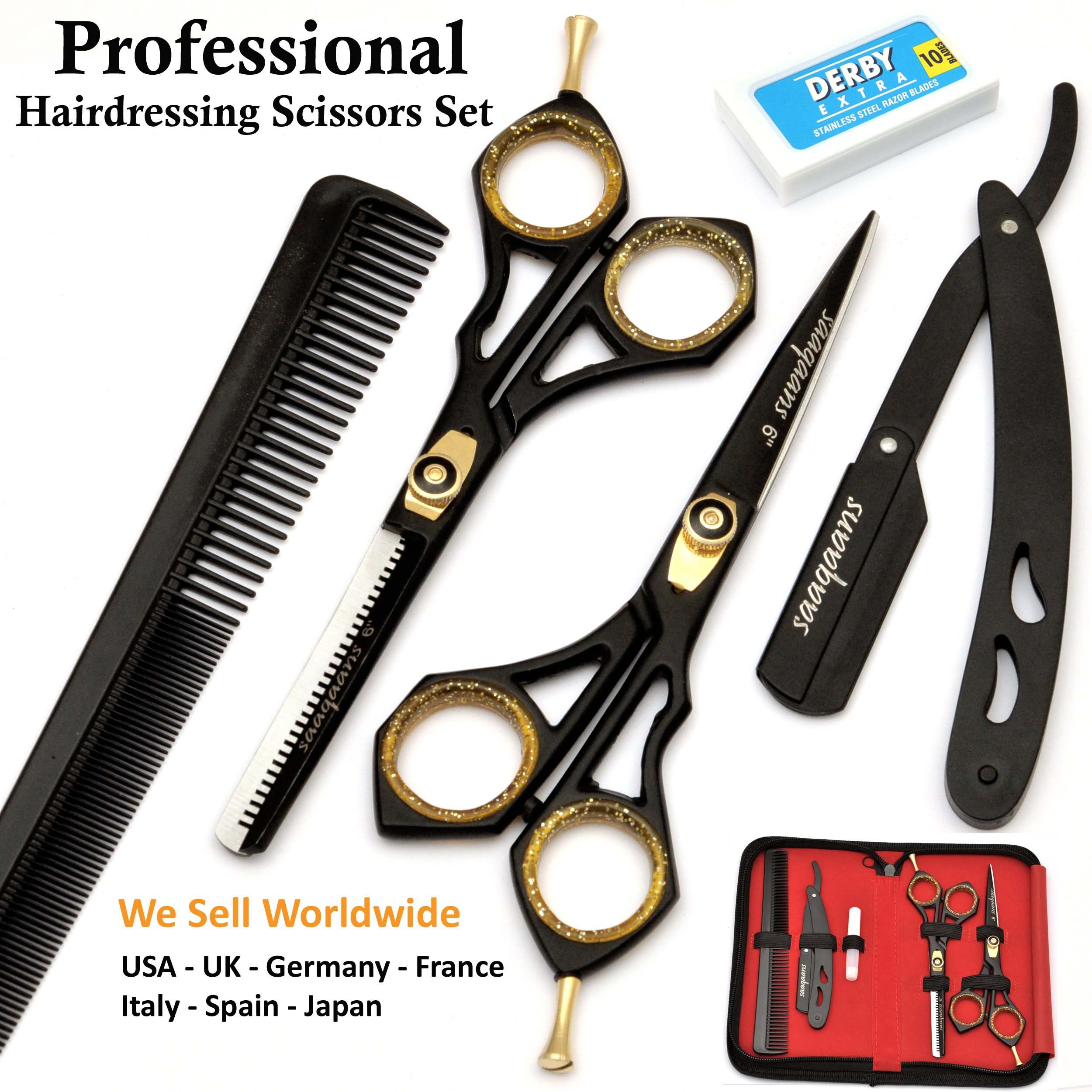 Saaqaans SQKIT Professional Hairdressing Scissors Set - Package includes Barber Scissor, Thinning Shear, Straight Razor, 10 x Derby Double Edge Blades and Hair Comb in Stylish Black Scissors Case