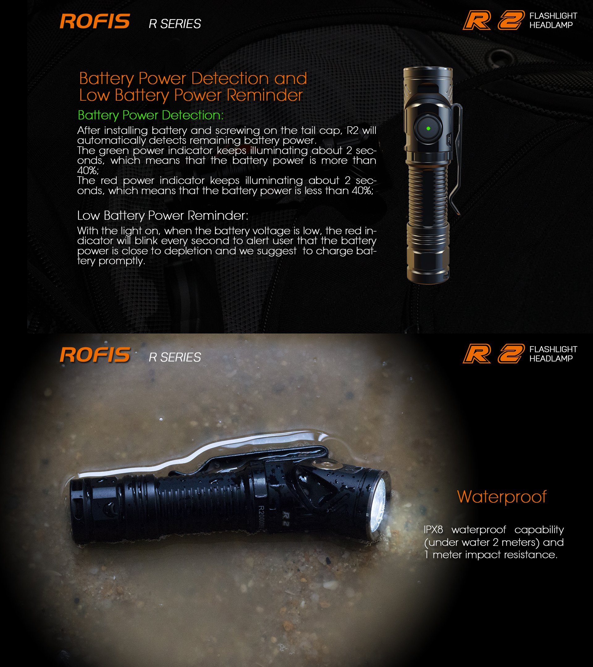 Rofis R2 CREE XM-L2 LED 700 Lumens Multifunctional Magnetic USB Rechargeable Adjustable-head Flashlight Compact 14500 Flashlight,with 14500 Battery,Charging Cable and Headband (Neutral White(5000 K)) by Rofis (Image #8)