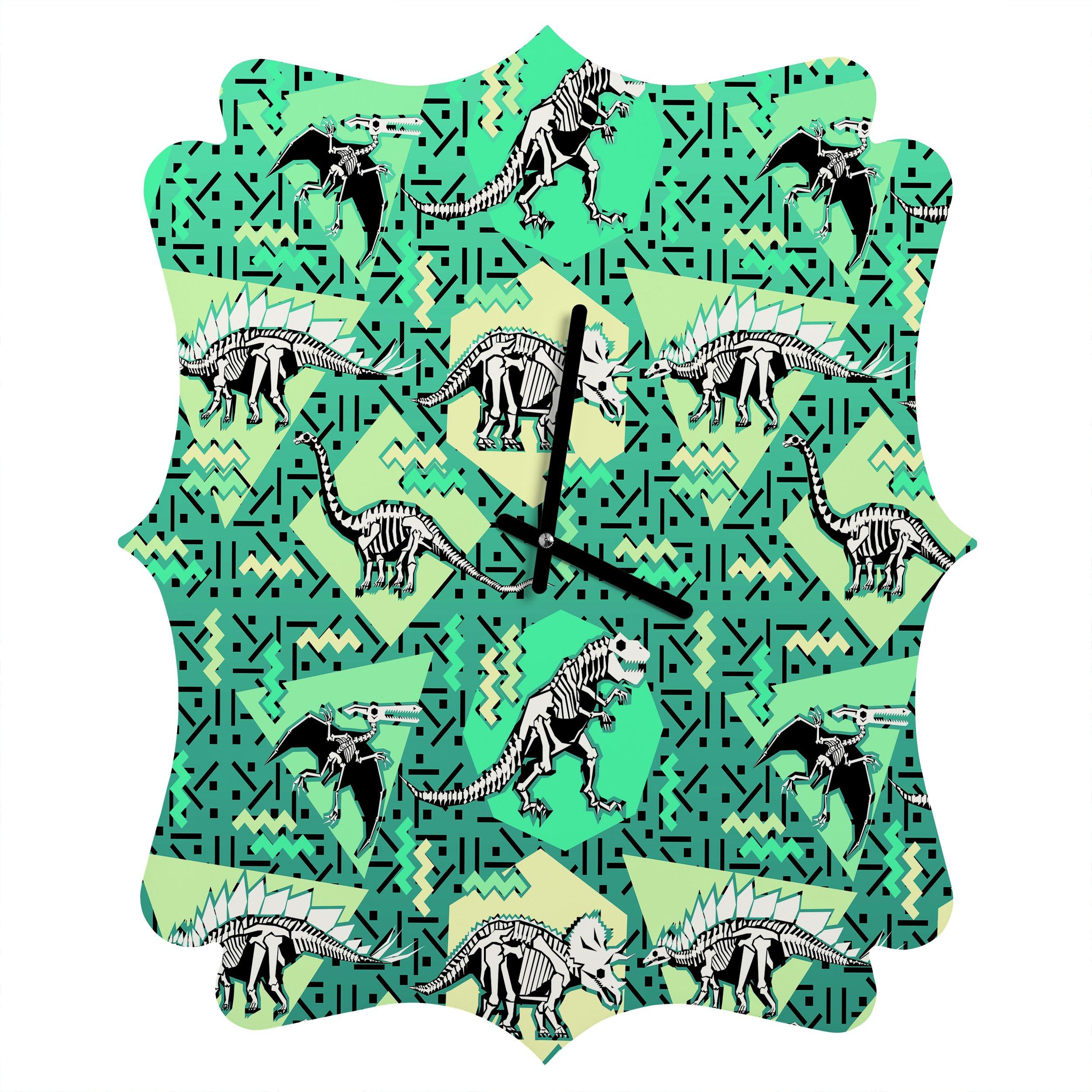 Deny Designs  Chobopop, Nineties Dinosaur Skeleton Pattern, Quatrefoil Clock, Medium