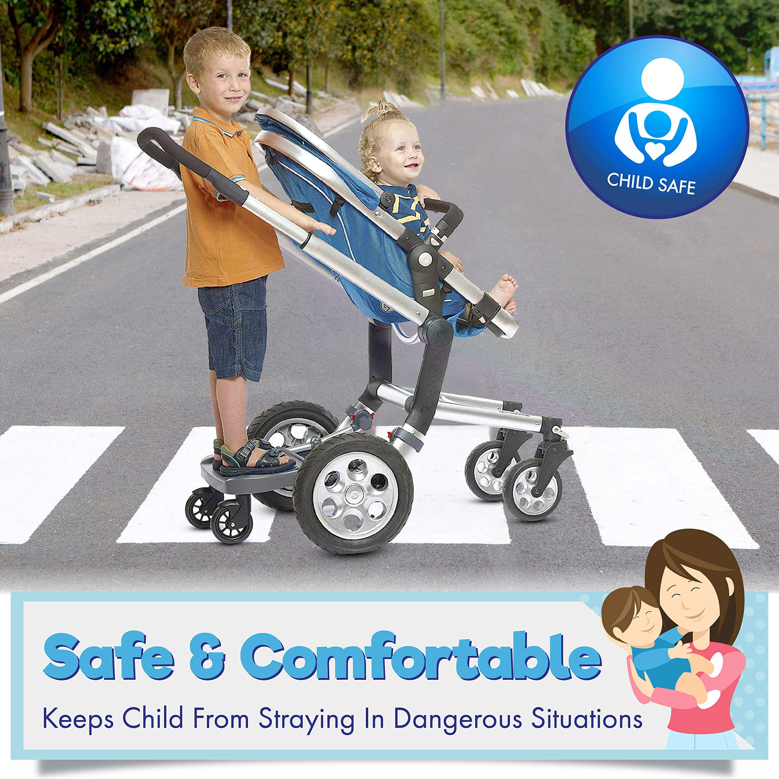 Ride Along - Universal Mount Ride-On Stroller Board Toddler Bump-Free Anti-Slip Buggy Stand by EZ step (Image #4)