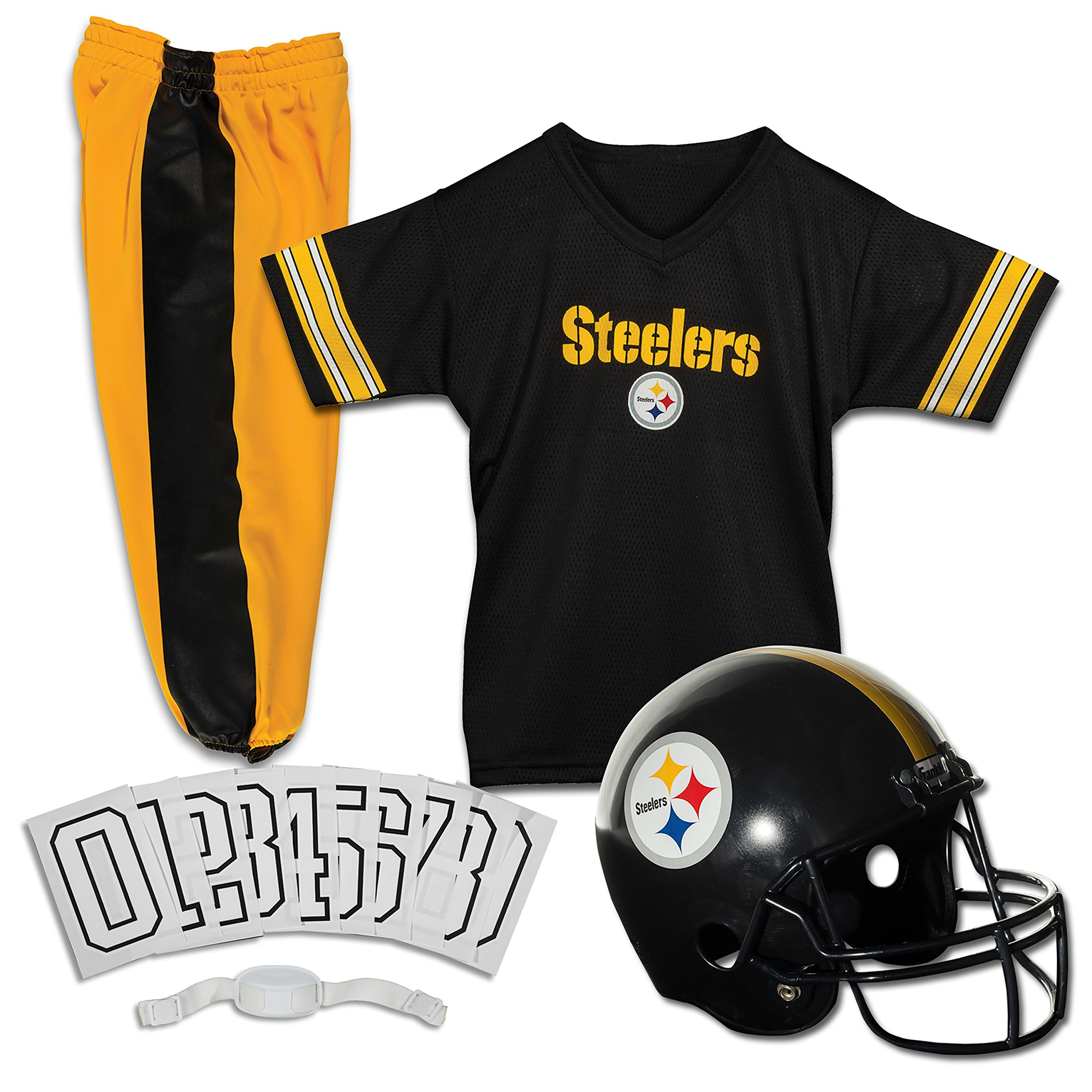 Franklin Sports Deluxe NFL-Style Youth Uniform - NFL Kids Helmet, Jersey, Pants, Chinstrap and Iron on Numbers Included - Football Costume for Boys and Girls by Franklin Sports (Image #1)