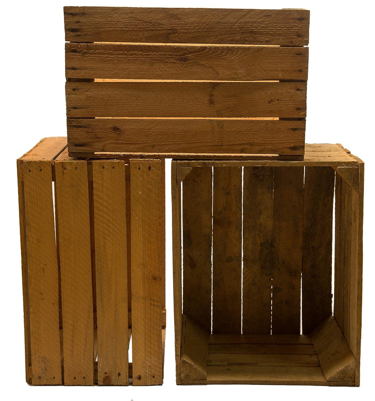 Kistenkolli Altes Land 3 Piezas sólido Cajas de Fruta Cajas DE Vino Cajas DE Manzana Caja Madera Shabby Vintage Medidas Aprox.