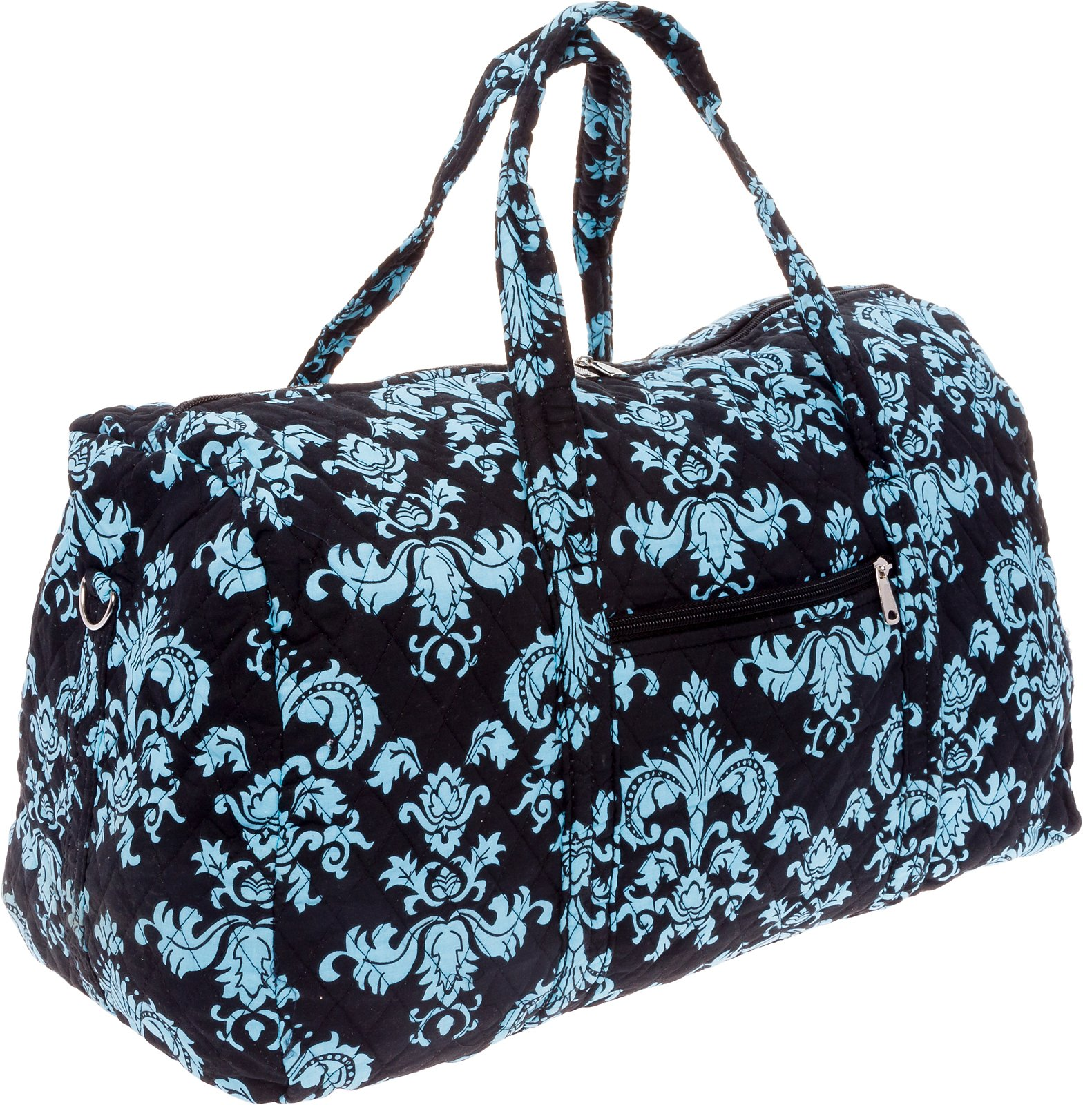 Silver Lilly Weekender Bag - Quilted Carry On Duffel Bag (Black & Blue Damask) by Silver Lilly