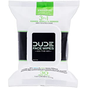 DUDE Face & Body Wipes 30 Count Energizing & Refreshing Scent Infused with Pro Vitamin B-5, Face Cleansing Cloths for Men, Lightly Scented for Mid-Day Refreshment, Hypoallergenic, Alcohol Free