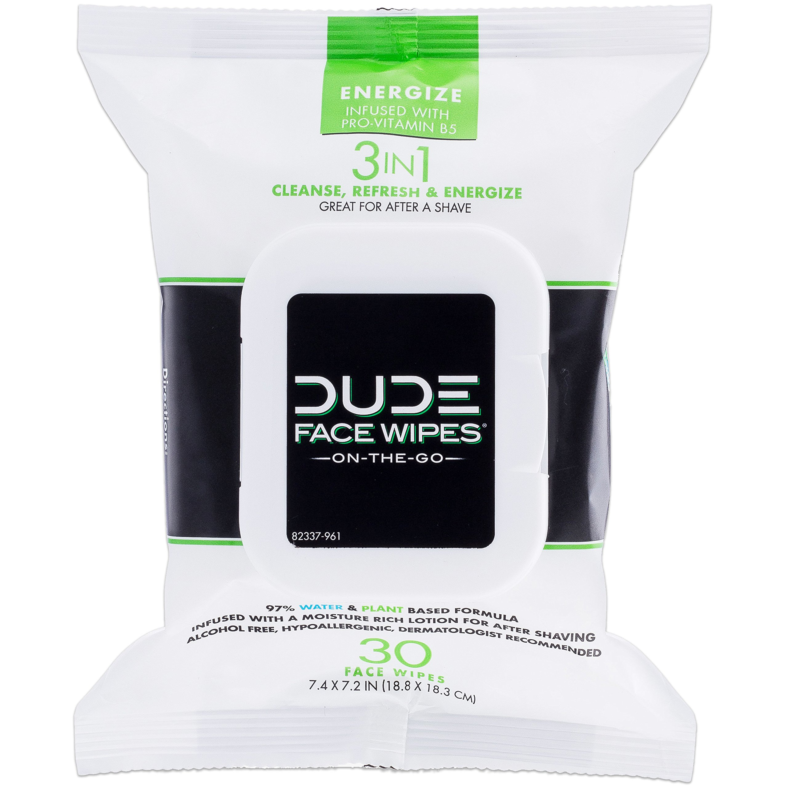 DUDE Face Wipes 30 Count, Energizing & Refreshing Scent, Infused with Pro Vitamin B-5
