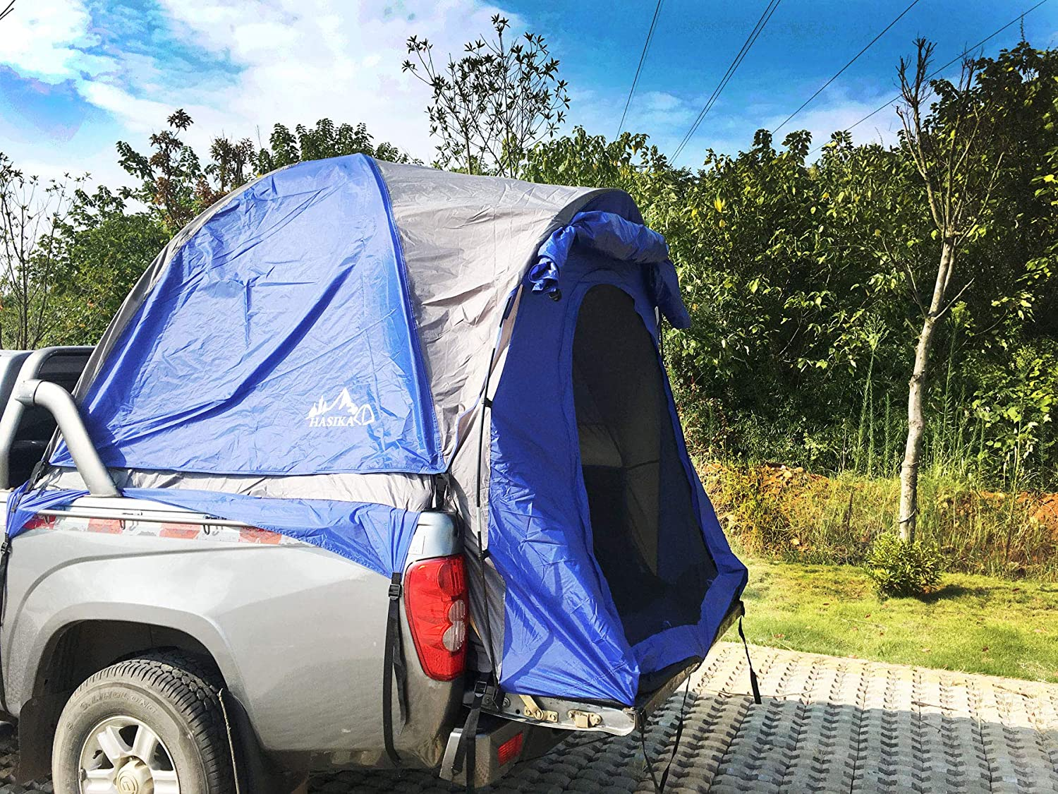 Hasika Waterproof Double Layer Large Space Pickup Truck Tailgate Tent for Length 5-6.7 Feet Truck with Floor Blue//Grey