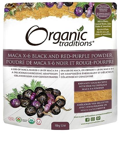 Organic Traditions Organic Gelatinized Raw 6 1 Maca X-6 Powder, Black and Red-Purple, 5.3 Ounce
