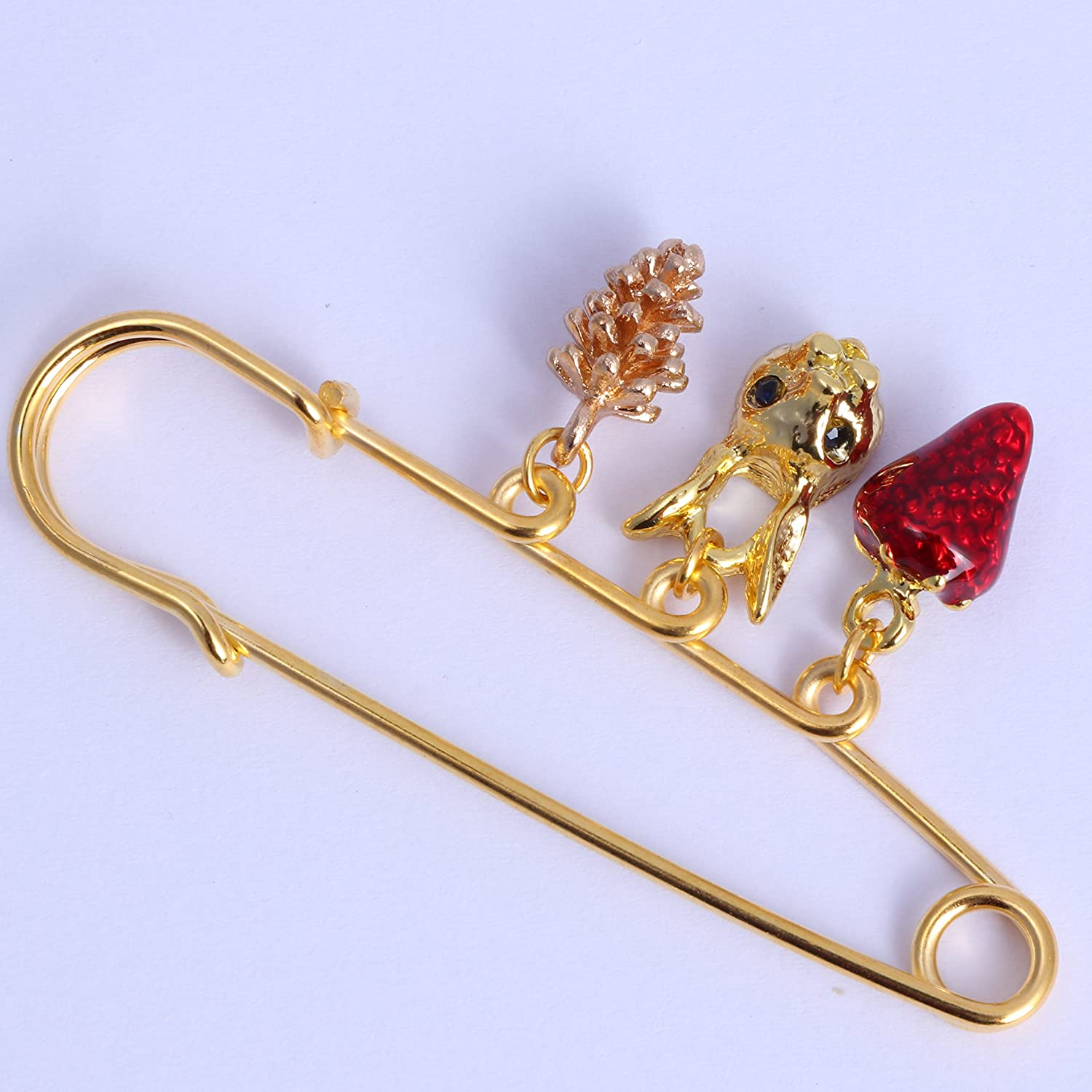 TUSHUO Simple Acorn Pine Cone Red Strawberry Green Eye Rabbit Pendant Brooches Safety Pin