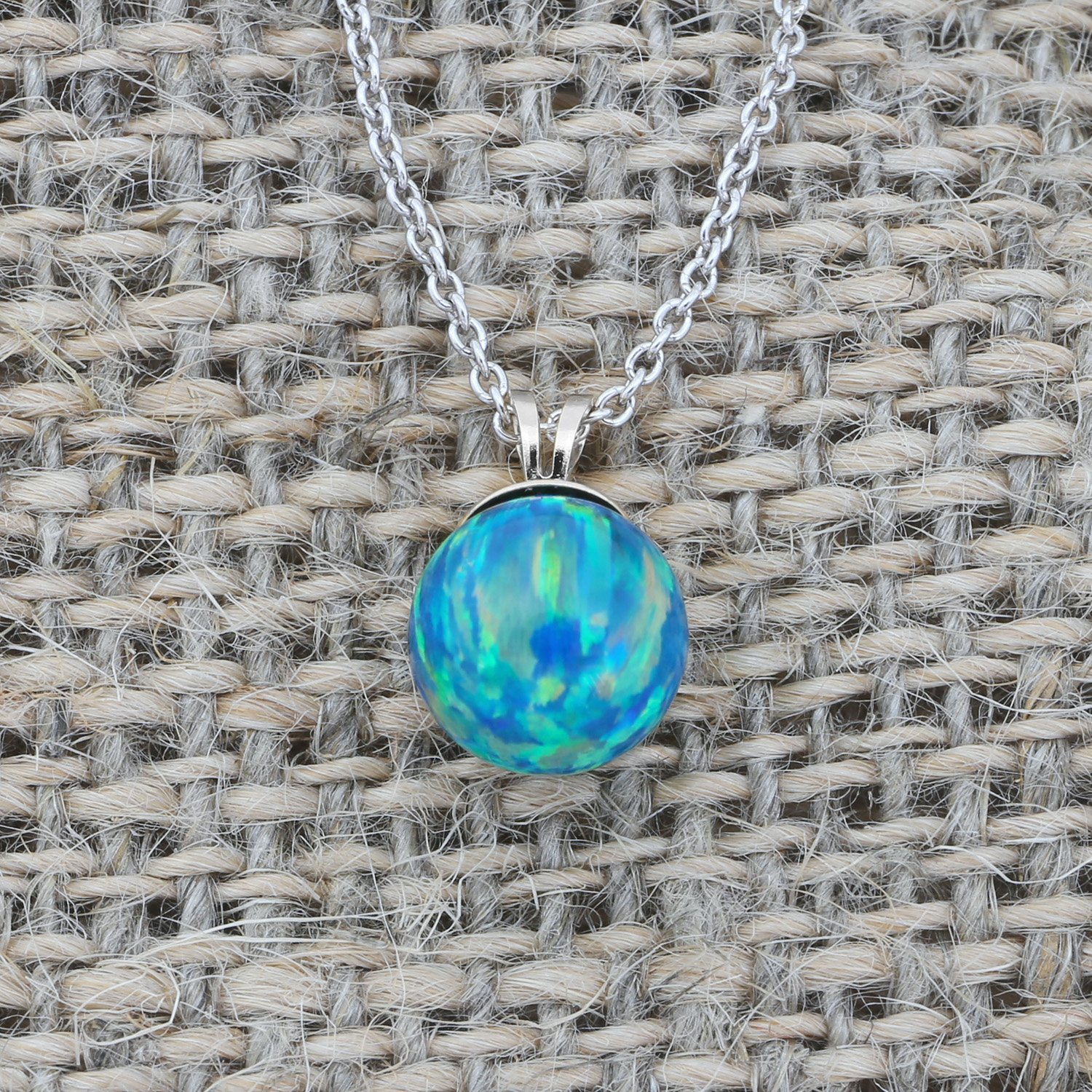 Solid Sterling Silver Rhodium Plated 6 Millimeter Green Simulated Opal Pendant Necklace