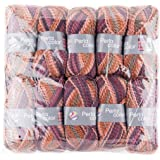 Gründl Perla Color, Vorteilspackung 10 Knäuel à 100 g Handstrickgarn, 100% Polyester, Braun-Berry-Mix, 39 x 20 x 8 cm