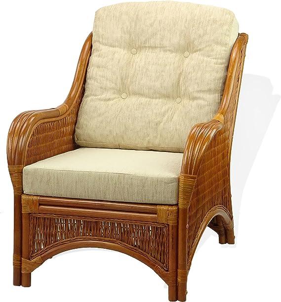 Amazon.com: Lounge Arm Chair Eco mimbre con cojines color ...