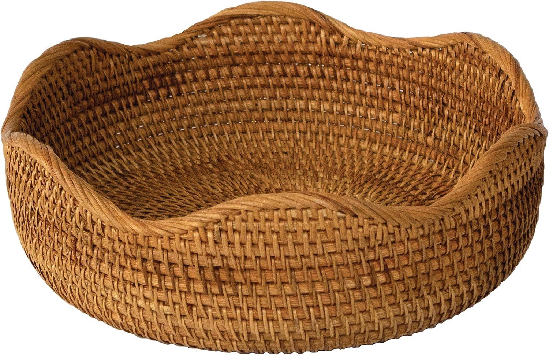 Natural Rattan Woven Fruit Basket Bowl Handmade Decorative Storage Bowl Chic Rustic Boho Tabletop Countertop Dining Table Kitchen Decor Great Housewarming Gift