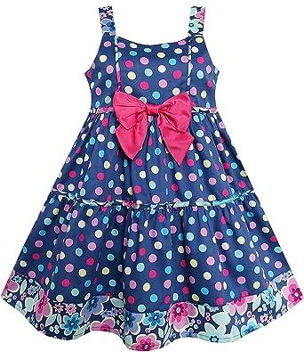 Vestido para niña Polka Dot Flor Recortar Rosa Corbata de moño Sin ...