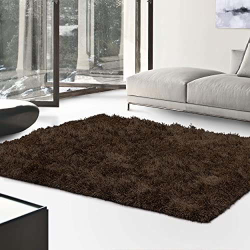 Superior Textured Shag Area Rug, Cocoa, 5 x 8