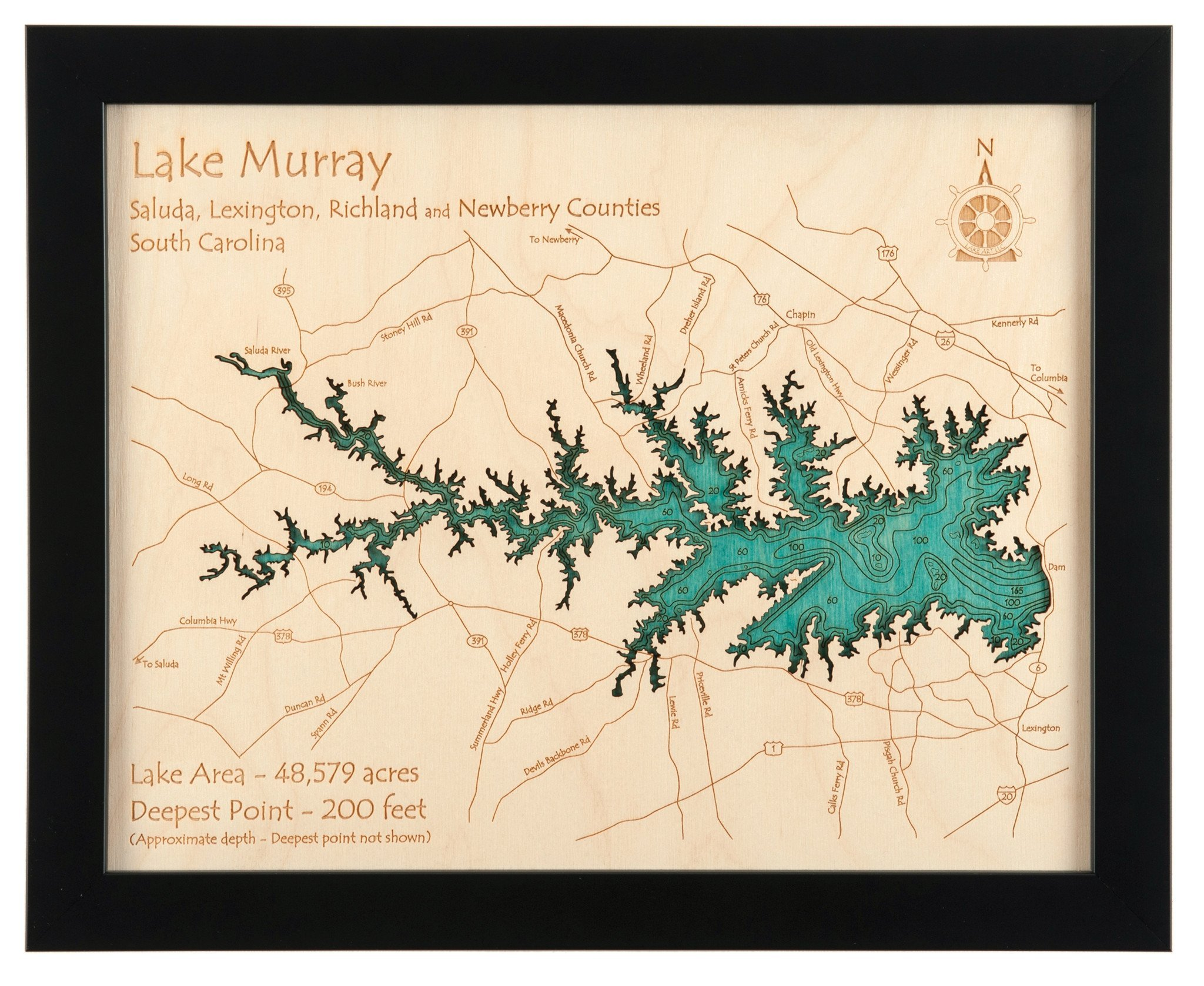 Echo Lake in El Dorado, CA - 2D Map (Black Frame/No Glass Front) 11 x 14 IN - Laser carved wood nautical chart and topographic depth map. by Long Lake Lifestyle
