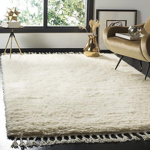 Safavieh Casablanca Shag Collection CSB150A Handmade Wool Area Rug, 8 x 10 , Ivory