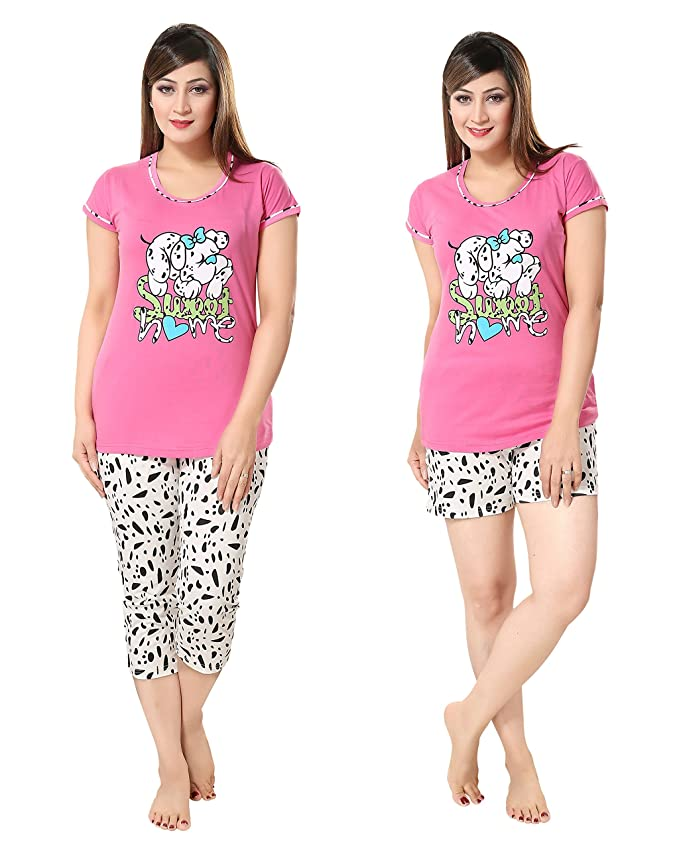 AV2 Women Cotton Printed Top, Capri & Shorts Set Tops at amazon