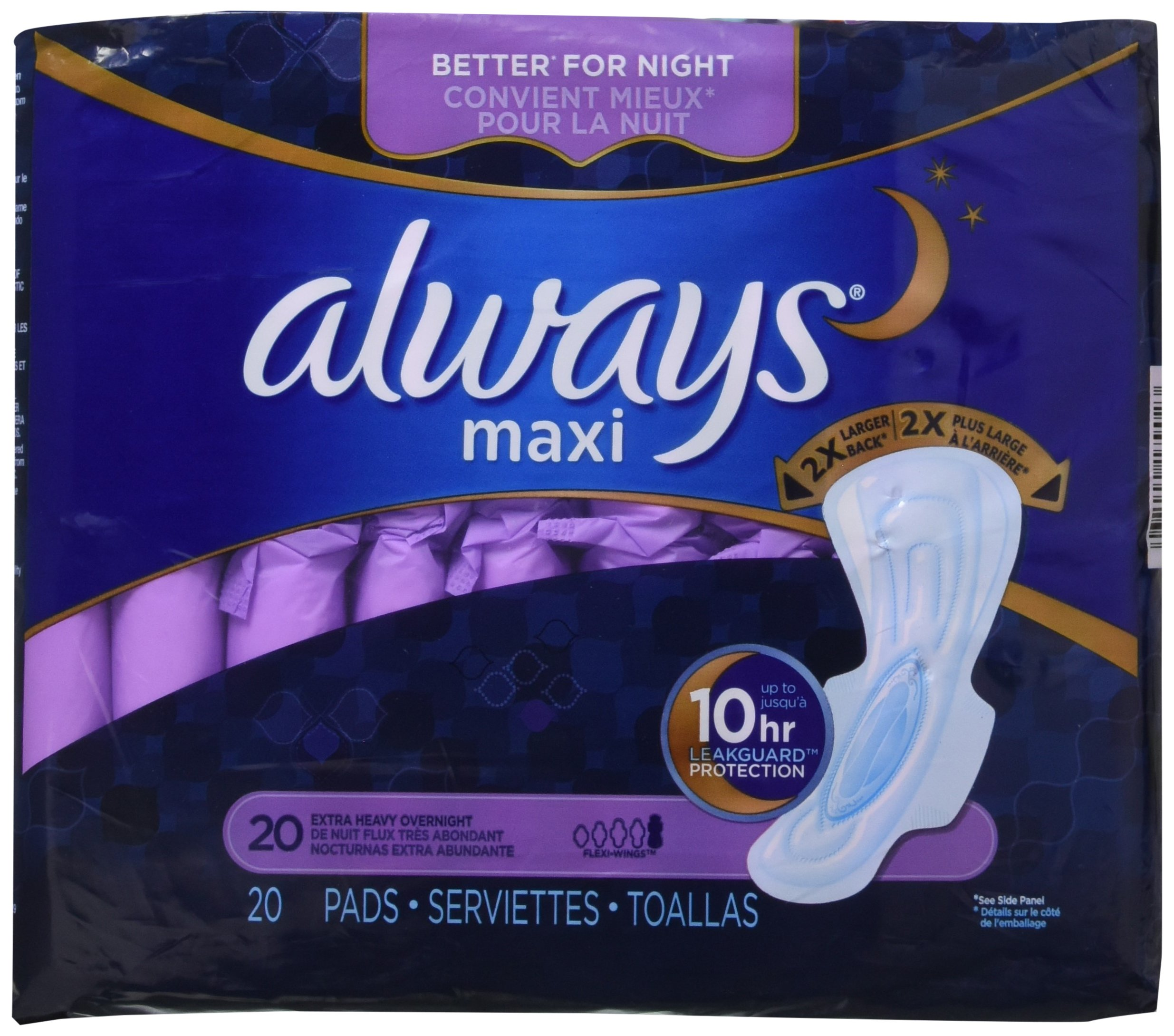 Always Extra Heavy Overnight Maxi Pads with Flexi-Wings - 20 Count (2 Pack)