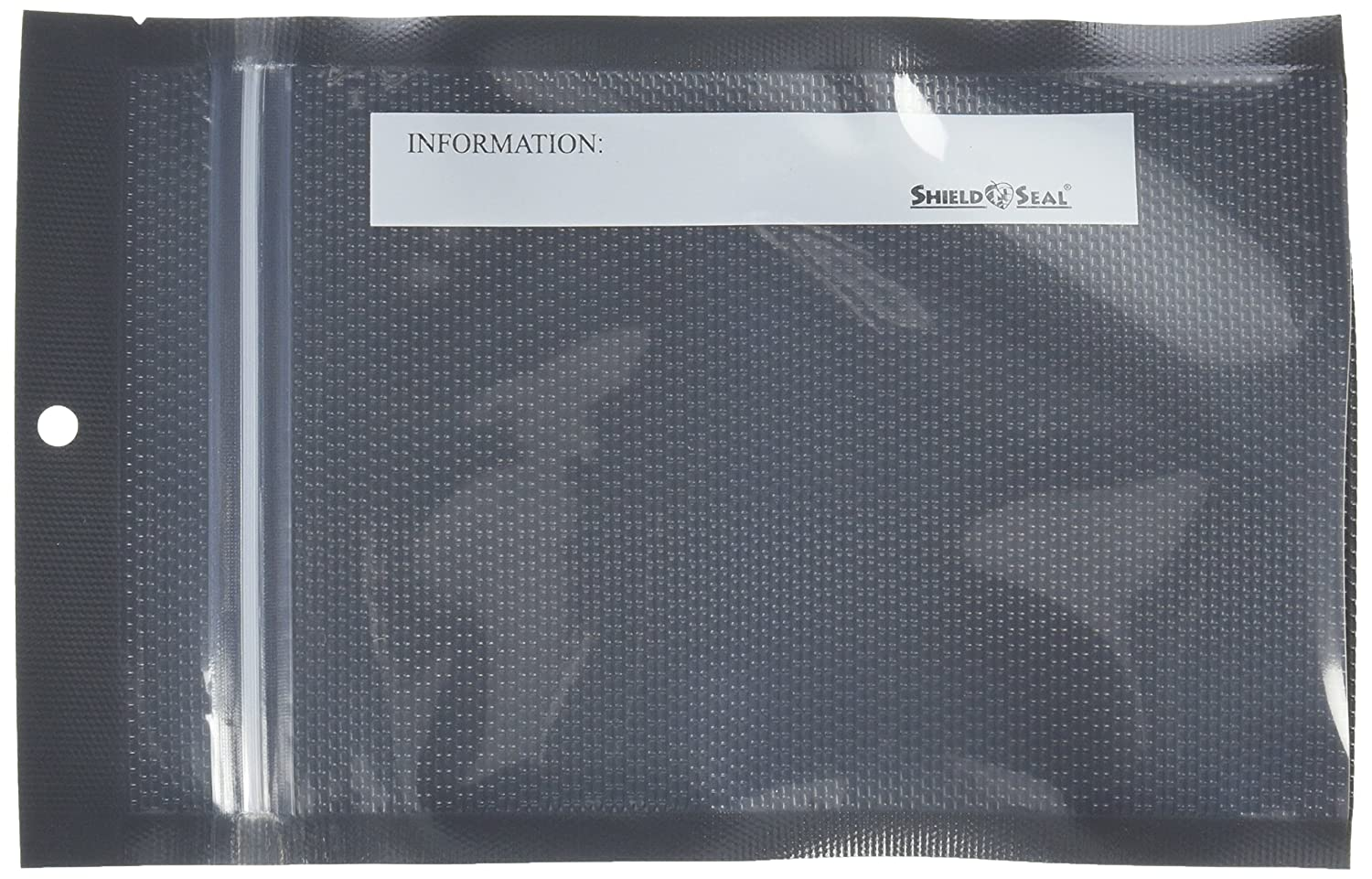 "ShieldNSeal 5"" x 8"" Clear & Black Heat Seal Zipper Bag SNS 1600"