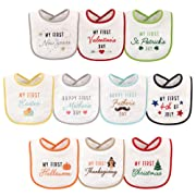 Hudson Baby Unisex Baby Holiday Bibs, 10-Pack, One Size