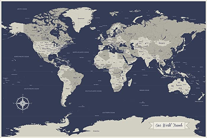 Amazon Com World Map Art World Travels Map With Pins Navy Map